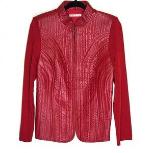 Peter Nygard Red Leather and Ribbed Knit Jacket